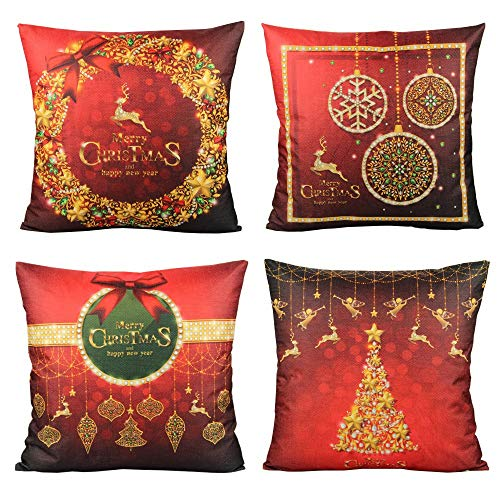 VAKADO Merry Christmas Throw Pillow Covers Cases Red Winter Deer Reindeer Outdoor Home Decorative Cushion for Couch Sofa 18X18 Set of 4,Xmas Tree Snowflake Holiday Decoration
