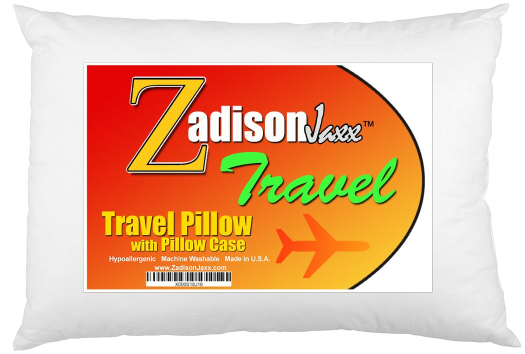 Travel Pillow With Pillowcase - Soft Hypoallergenic - Machine Washable - 18x12