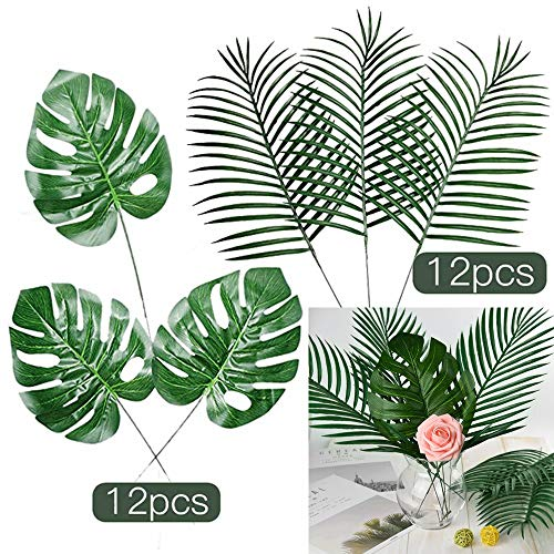 (FEPITO 24 Pcs Large Artificial Tropical Palm Monstera Leaves 2 Styles Faux Tropical Plant Leaves for Hawaiian Safari Jungle Moana Theme Birthday Party Green Luau Party Home Decorations)