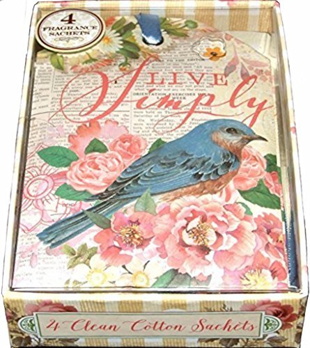 Punch Studio Boxed Set of 4 Clean Cotton Fragrance Sachets - Live Simply Beautiful Blue Bird 65007