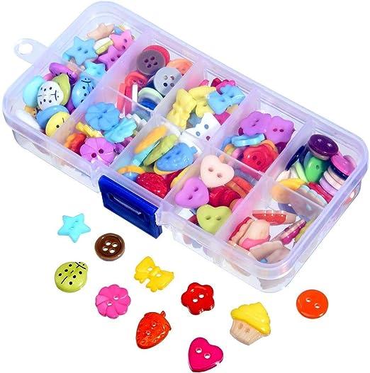 Botones de Resina,Botones Costura 240 Piezas Colores Mezclados Botones Manualidades con Caja de Plástico para manualidades de DIY Coser Artesanía: Amazon.es: Hogar