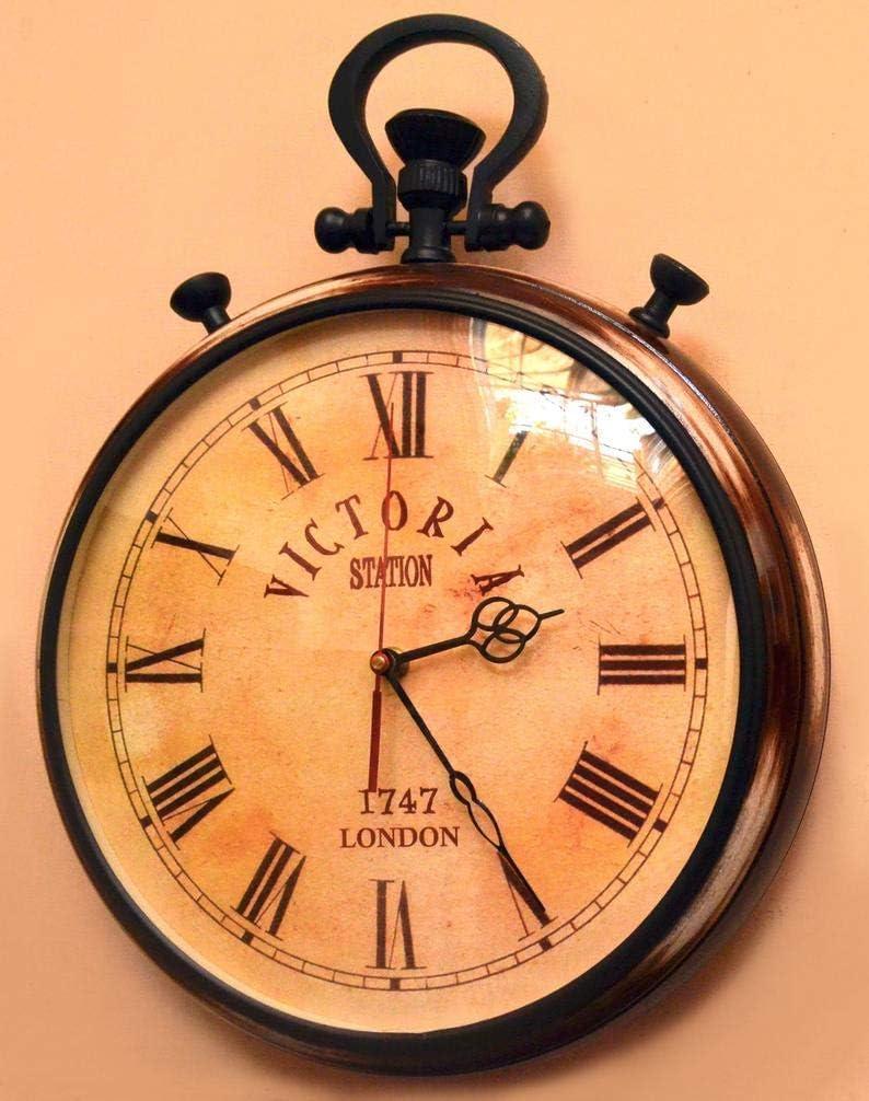 Faiza International Wooden Wall Clock Handmade Wall Clock Vintage Style Home Decor Office Decor Antique-Style Wall Cl