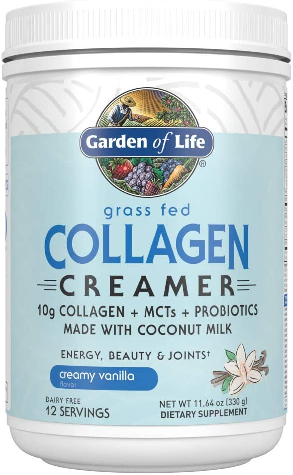 Garden of Life Grass Fed Collagen Creamer Powder - Creamy Vanilla, 12 Servings, Collagen Powder for Coffee Energy Beauty Joints, Collagen Peptides Powder, Coconut MCTs, Collagen Protein Supplements