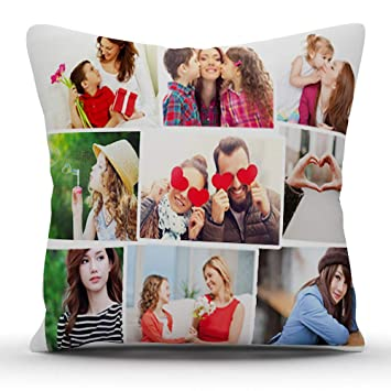 38fc8f33ccf Buy k1gifts 9 Photos Personalized Collage Satin Photo Pillow (White) 12    12 INCH Online at Low Prices in India - Amazon.in