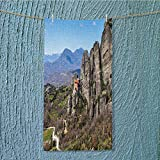 AmaPark swim towel holy monastery of varlaam in meteora mountains thessaly greece unesco world Super Soft W35.4 x H11.8 INCH