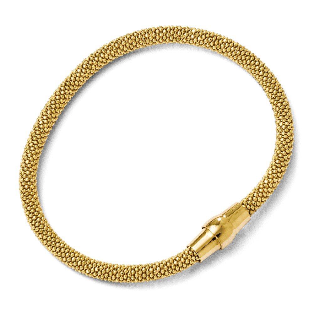 18k Gold Plated Sterling Silver 5mm Popcorn Mesh Chain Bracelet 7.5in