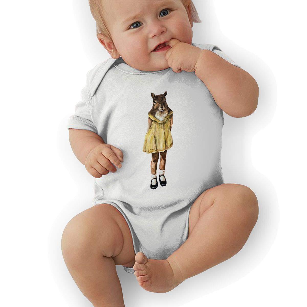 Infant Baby Girls Bodysuit Short-Sleeve Onesie Creative Squirrel Girl Print Rompers Spring Pajamas