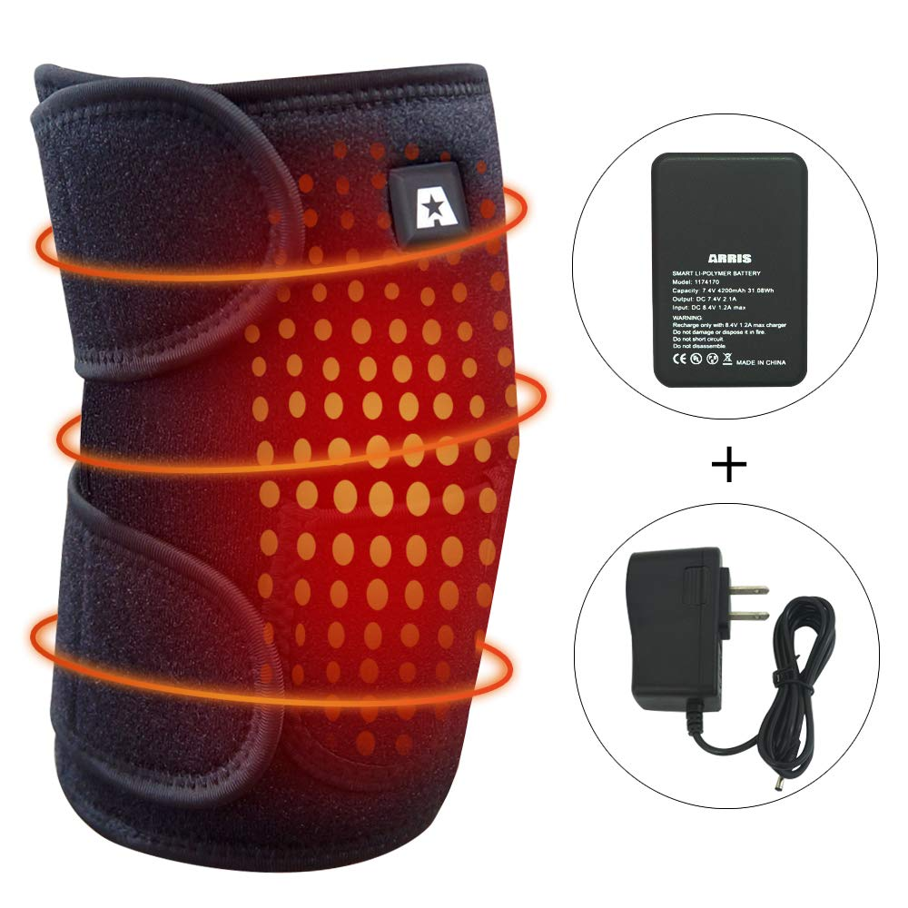 Heating Knee Pad, ARRIS Heated Knee Wrap/Electric Heat Knee Brace w/7.4V Lipo Battery Warm Therapy for Joint Pain, Arthritis Meniscus Pain Relief for Men and Women (1PCS) by ARRIS