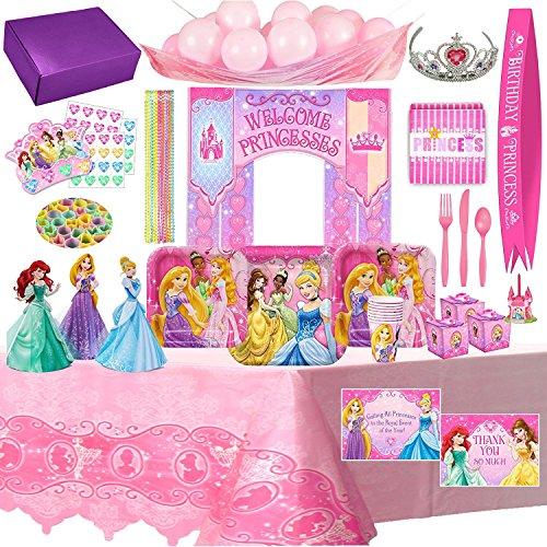 [Disney Princess Birthday Party Supplies & Decorations For 8 Guests - 148 Pieces] (Disney Princess Cinderella Candle)