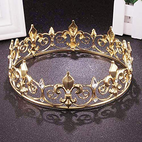 Royal Full King Crown Metal Men Crowns and Male Tiaras for Man Prom Party Hats Costume Accessories (Gold)