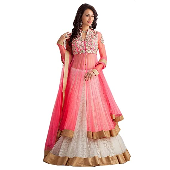 d16e5d7a29 Snapdeal Women s Panther Pink Lehenga Choli Gown Semi-stitched Dress  material (PINK PANTHER 1)  Amazon.in  Clothing   Accessories