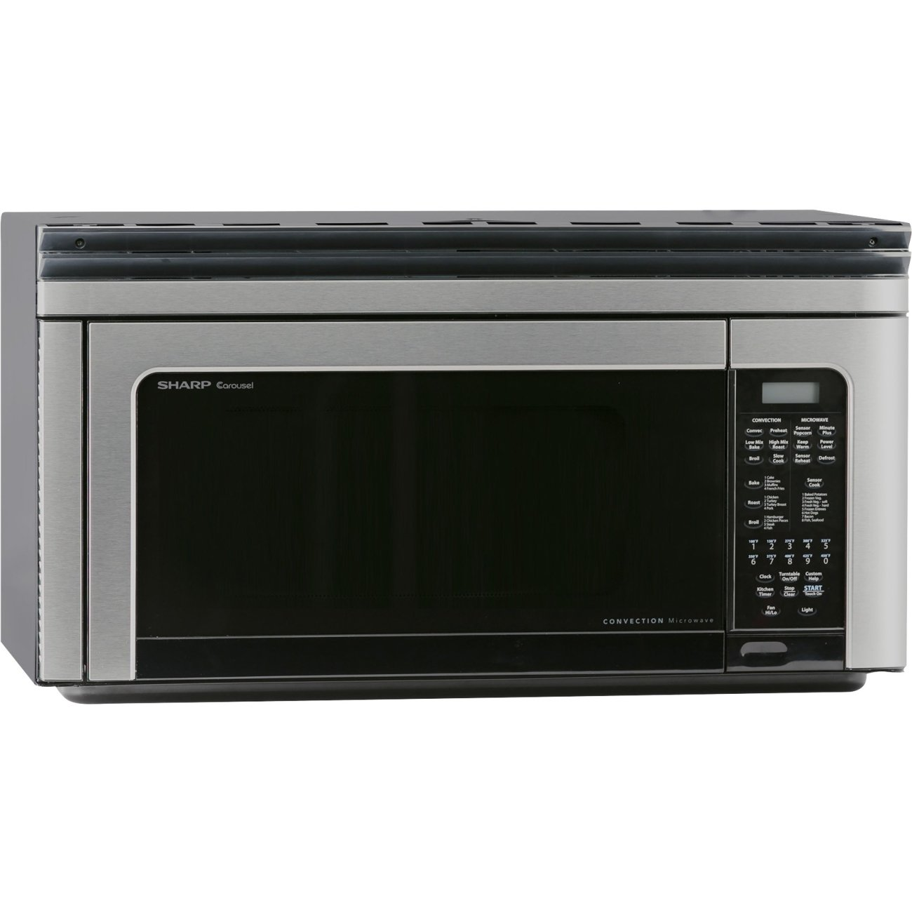 Sharp R-1881LSY 30'' Over-the-Range Convection Microwave Oven with 1.1 cu. ft. Capacity 13'' Turntable 8 Sensor Cook Options and 850 Watts Output in Stainless