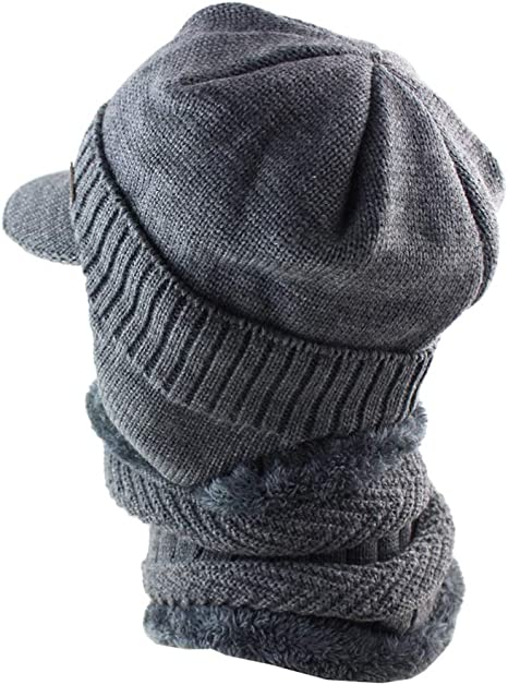 YWQQDP Unisex Knitted Hat Winter Warm Windproof Hat Handmade Woven Wool Line Hood Scarf Collar Head Dual-Use Beanies