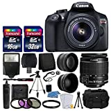 Canon EOS Rebel T6 Digital SLR Camera with 18-55mm EF-S f/3.5-5.6 IS II Lens + 58mm Wide Angle Lens + 2x Telephoto Lens + Flash + 48GB SD Memory Card+UV Filter Kit+Tripod+Cleaning Kit+Accessory Bundle