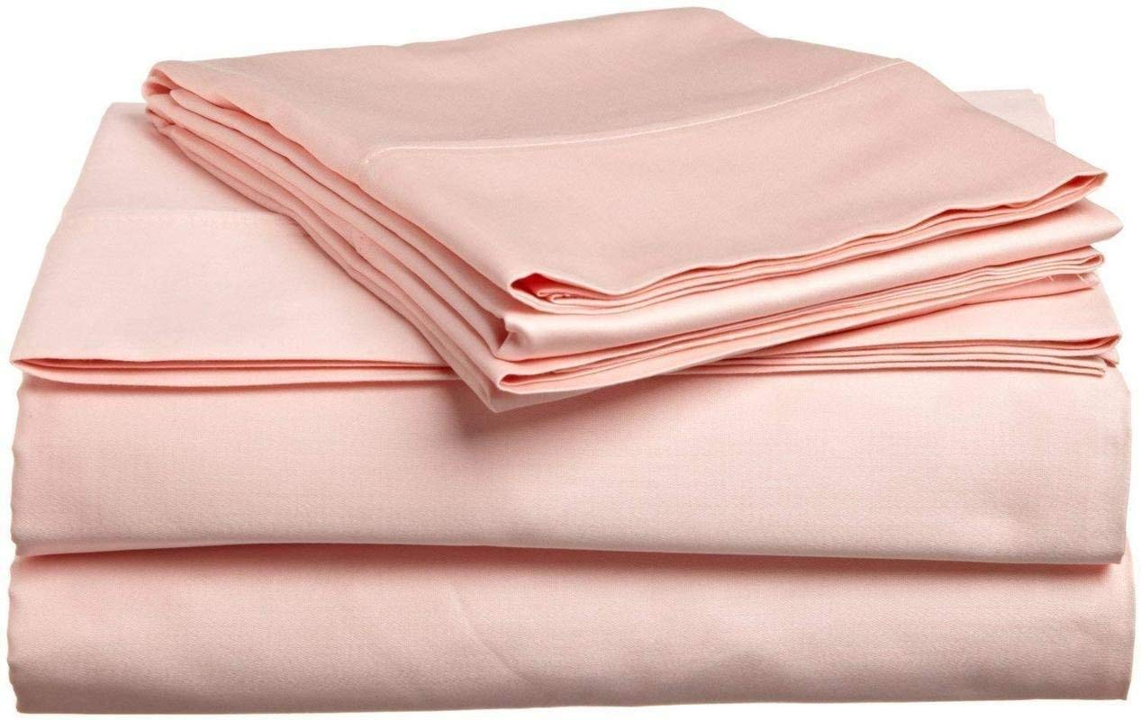 Mat's Linen Egyptian Cotton 4-Piece Sheet Set Queen Size (60x80) Fits Upto 14-15'' Deep Pocket 600 Thread Count Peach Solid # Exotic Bedding Collection