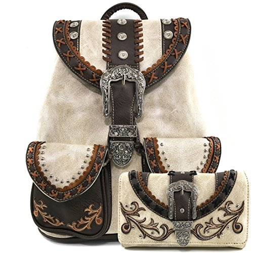 (Justin West Trendy Western Rhinestone Leather Conceal Carry Top Handle Backpack Purse (Western Beige Backpack Wallet Set))