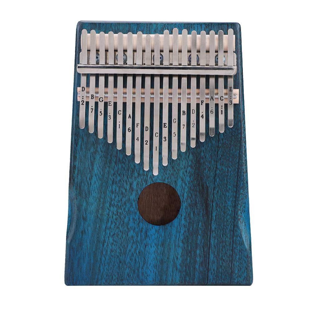 17 Keys Kalimba, Mahogany Wooden Body Thumb Finger Piano Musical Instrument with Tune Hammer, Cloth Bag, Sticker, Music Sheet by VGEBY