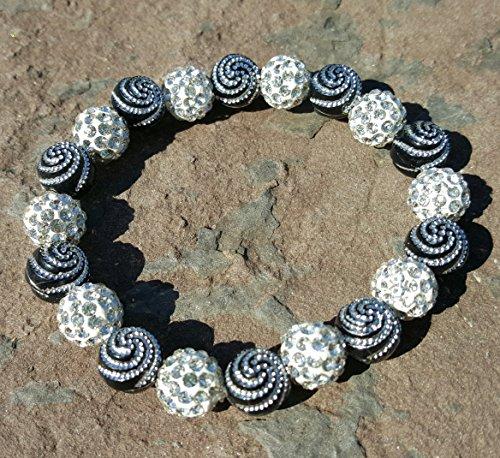 Black Shamballa and swirl Bead Cuff Bracelet Rustic Style Bella Cuff Disco Ball Pave