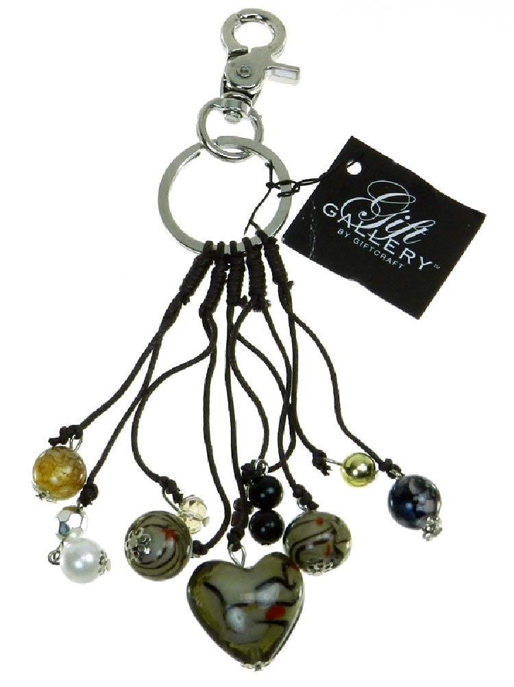 Glass Heart Purse Charm and Key Chain - Khaki/ Brown