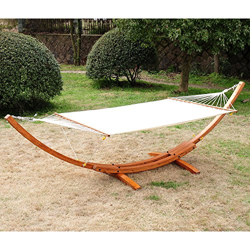 Festnight Wooden Arc Hammock Stand with Hammock