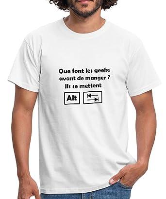 Spreadshirt Geek À La Table Blague T-Shirt Homme, S, Blanc  Amazon ... 2310e7039648
