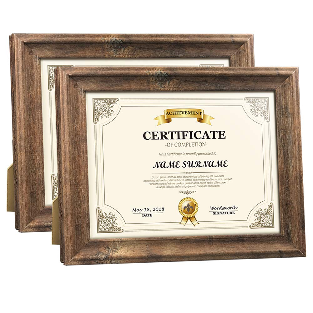Artsay 8.5x11 Certificate Document Diploma Frame Rustic Distressed Picture Frames 8.5 x 11 Set, Wall Hanging and Tabletop, 2 Pack, Brown by Artsay