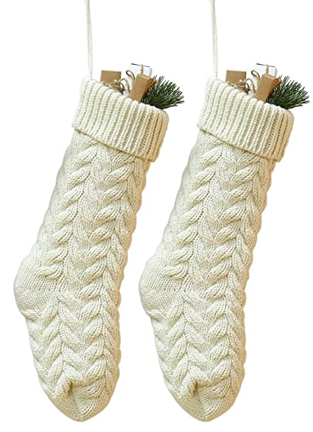 goege bailey pack 214 unique ivory white knit christmas stockings style3 - White Knit Christmas Stockings