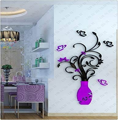 Creative 3D DIY Vase Flowers Wall Stickers Home Living Room Kitchen Decor #8Y
