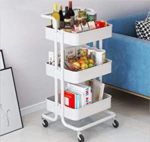 Storage Trolley Cart - 3 Tier Metal Rolling Utility Organizer Rack, Craft Art Cart, Multi-Purpose Organizer Shelf, Tower Rack Serving Trolley for Office Bathroom Kitchen Kids' Room Laundry Room, White