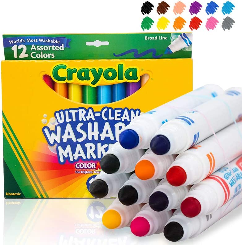 Color Max 12 PACK***Crayola Ultra-Clean Washable Markers Broad Line 8 Colors