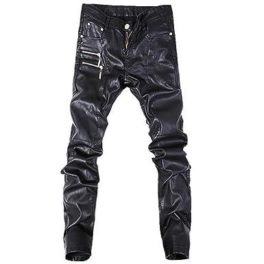 62e59c778b2 Chiced Fashion Men Jeans Leather Pants Denim Stylish Trousers Black ...