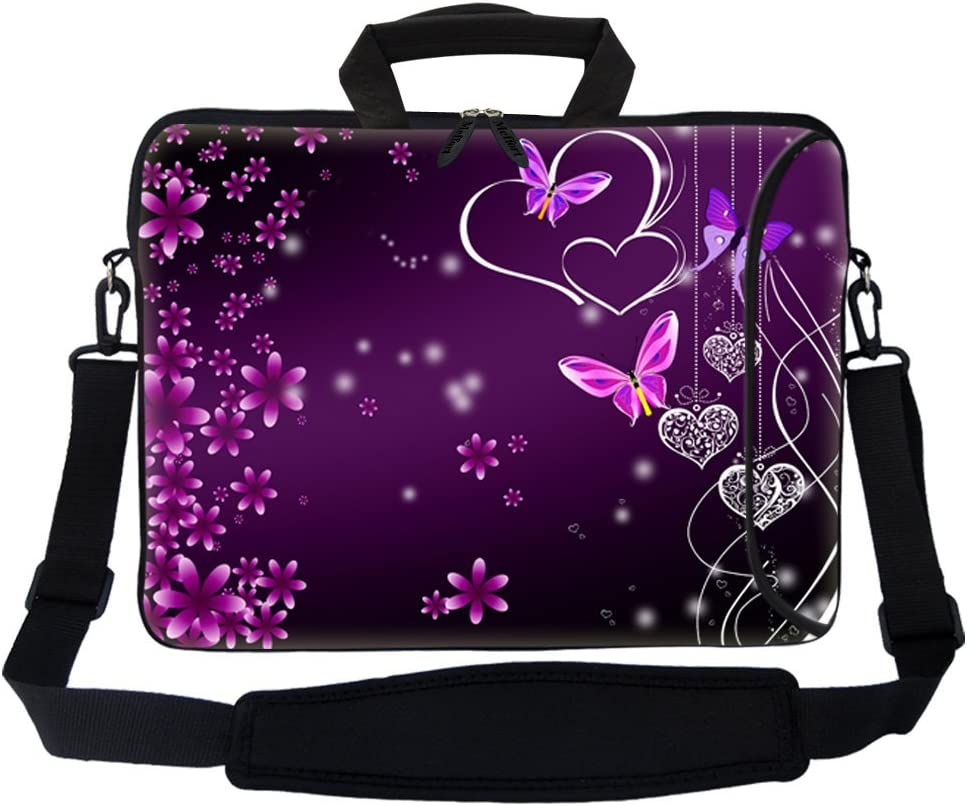 """Meffort Inc 15 15.6 inch Neoprene Laptop Bag Sleeve with Extra Side Pocket, Soft Carrying Handle & Removable Shoulder Strap for 14"""" to 15.6"""" Size Notebook Computer (Purple Butterfly Heart 1)"""