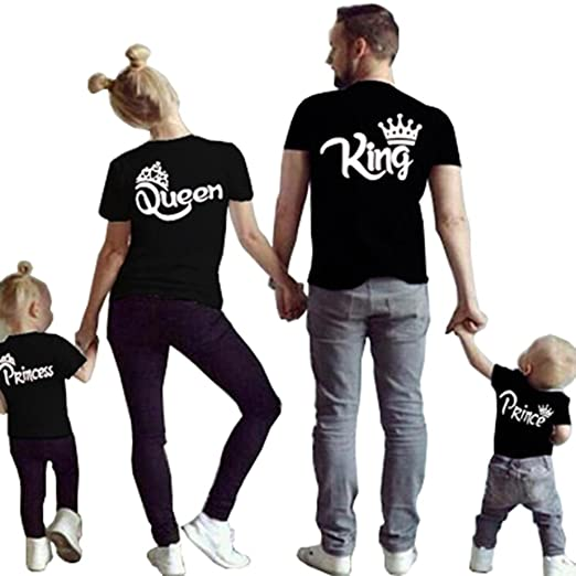 c9ff036a675 D-Sun Family Clothes Matching - King Queen Crown Short Sleeve Cotton T-Shirt