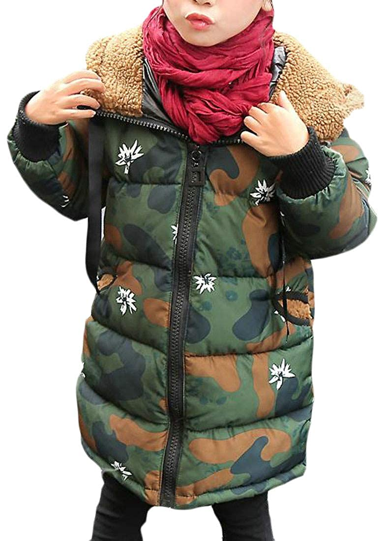 Cromoncent Boy Girl Winter Thicken Camo Hooded Quilted Down Jacket Parka Coat