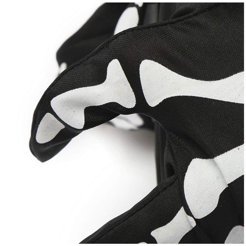 Halloween Skeleton Gloves Unisex Full Finger Skeleton Pattern Scary Skeleton Print Gloves for Fancy Dress Costumes Accessory