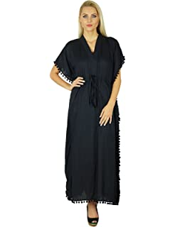 533a0d128b Bimba Women Cotton Long Kaftan With Pom Pom Tassels Maxi Caftan Beach  Coverup