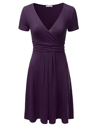NINEXIS Women's Short Sleeve V-Neck Crossover Banded-Waist Skater Dress