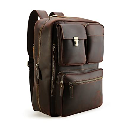 5b33fb3ebc0 Tiding Vintage 15.6 Inch Men s Crazy Horse Genuine Leather Convertible Backpack  Laptop Messenger Bag Large Briefcase