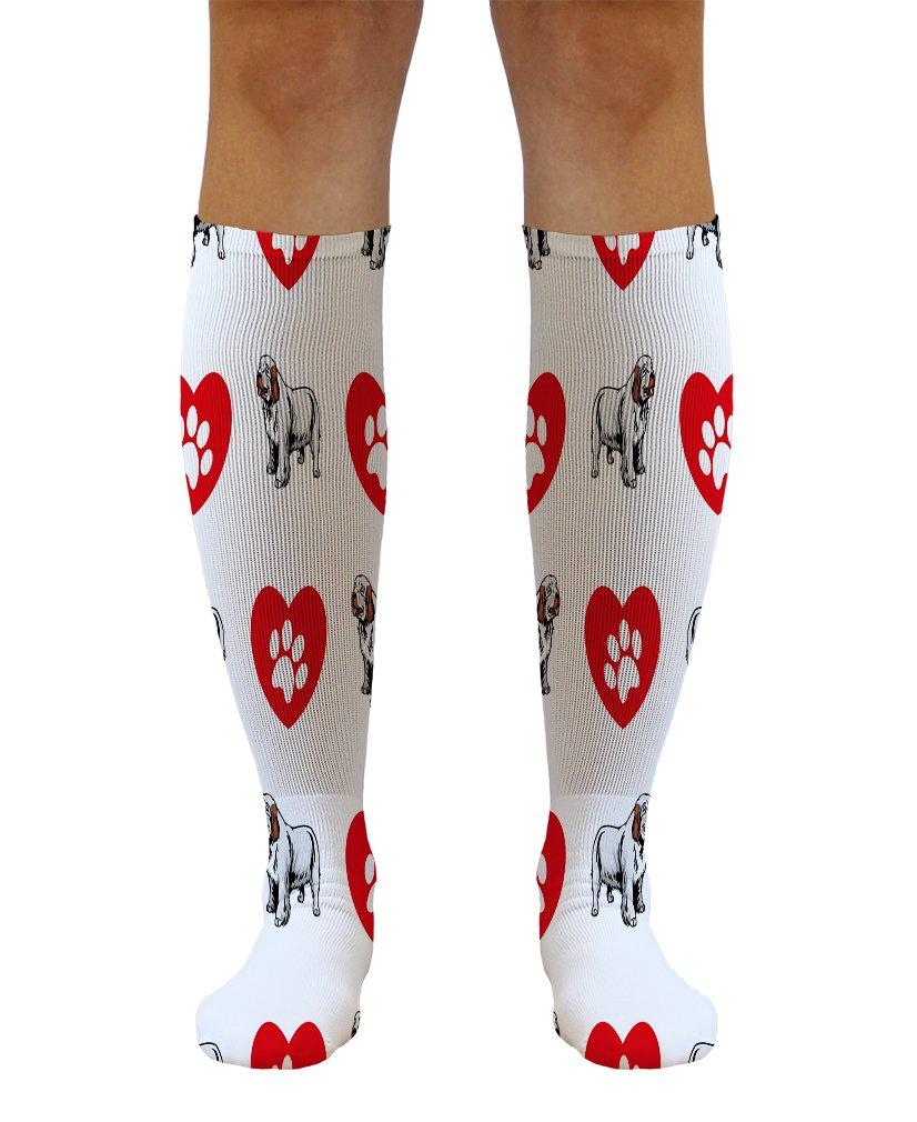 Funny Knee High Socks Clumber Spaniel Dog Heart Paws Tube Women & Men 1 Size 1