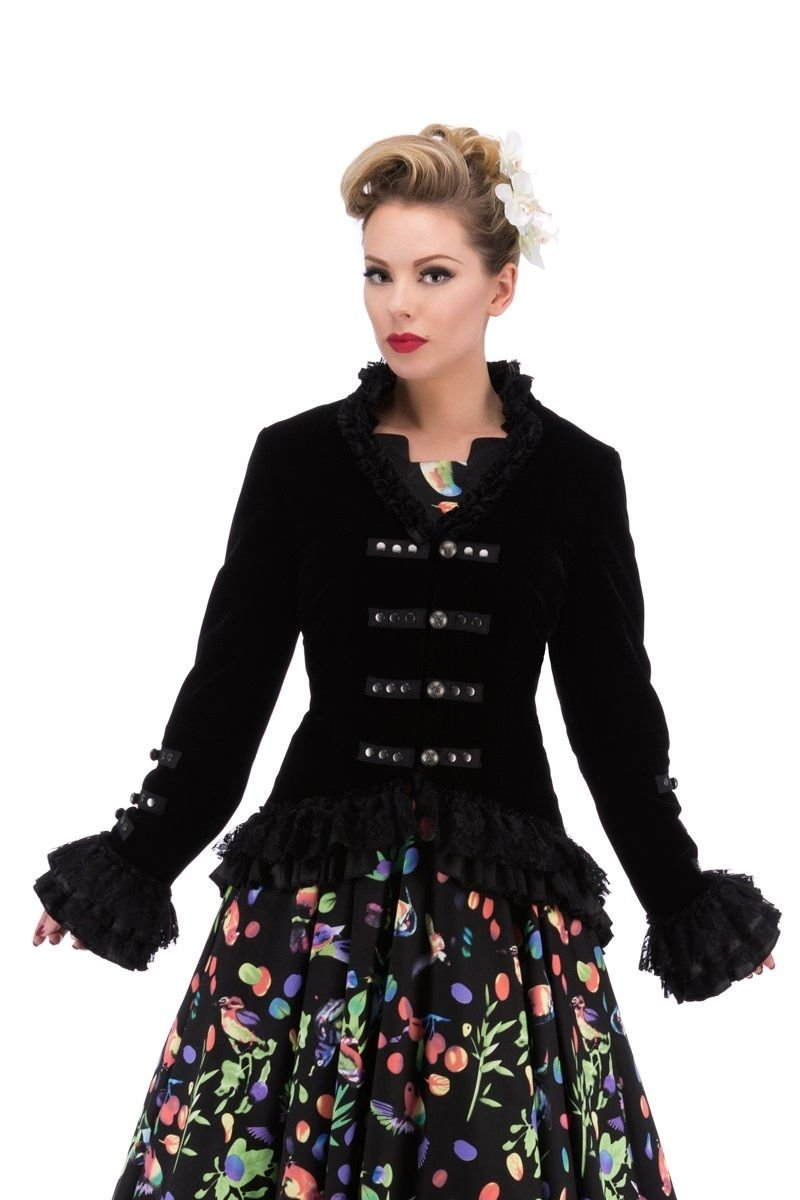 Lady's Pirate Captain Black Velvet Corset Back Victorian Jacket - DeluxeAdultCostumes.com