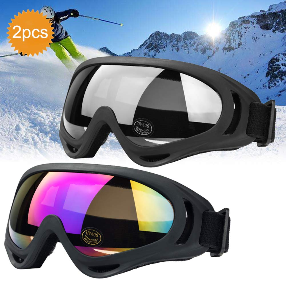 JTENG Ski Goggles Outdoor Eyewear Adjustable UV Protective Portable Motorcycle Goggles Eyewear Dust-proof Protective Combat Goggles Play Games Protective glasses