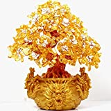 VOVOV Feng Shui Citrine/Yellow Crytal Money Tree Chinese Dragon Pots