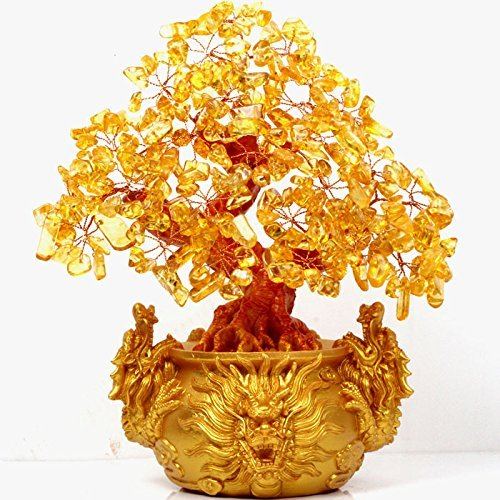 VOVOV Feng Shui Citrine/Yellow Crytal Money Tree Chinese Dragon Pots ()