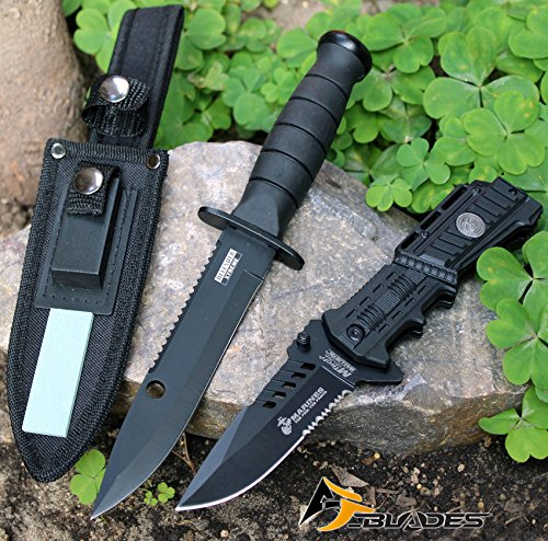2PC-TACTICAL COMBAT HUNTING & USMC Marine Corps Spring Assisted Rescue P/Knife