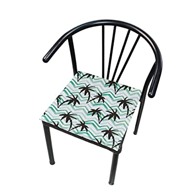 "Bardic HNTGHX Outdoor/Indoor Chair Cushion Zigzag Watercolor Palm Tree Square Memory Foam Seat Pads Cushion for Patio Dining, 16"" x 16"": Home & Kitchen"