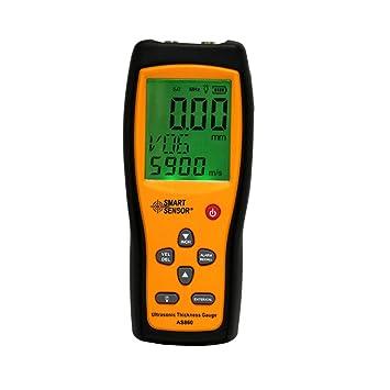 Medidor de espesor ultrasónico Hoja de metal digital Rango de medición: 1,0 a 300 mm (acero) Sonda Medidor de velocidad Sensor inteligente AS860: Amazon.es: ...