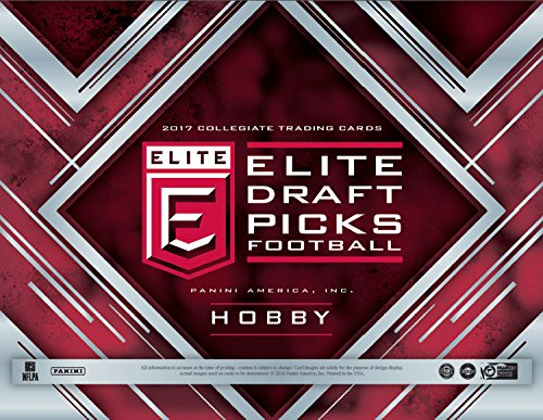 2017 Panini Elite Draft Football Hobby Box (5 Packs of 15 Cards: 5 Inserts, 5 Autographs, 30 Draft Picks) (Elite Basketball Card Box)