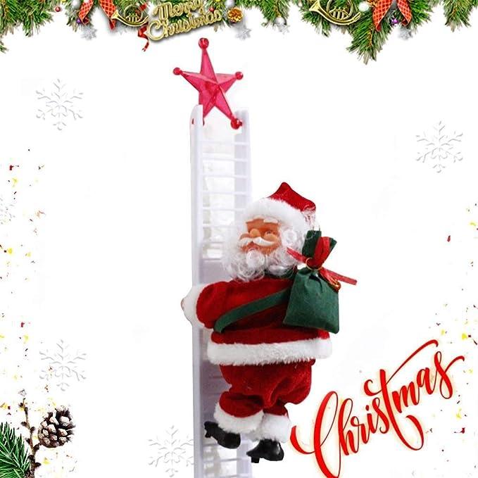 Divertida Escalera Eléctrica de Santa con Juguetes de Sonido de Música, Decoración de Escalera de Navidad de Papá Noel Muñeca de Peluche, Adorno Colgante de Árbol de Navidad: Amazon.es: Hogar