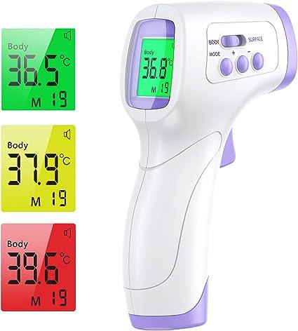 Pantalla LCD 【Stock en la UE】Term/ómetro Infrarrojo M/édico Sin Contacto con Lecturas Digital Precisas Memoria de Datos y Alarma de Fiebre para Adultos y Bebes