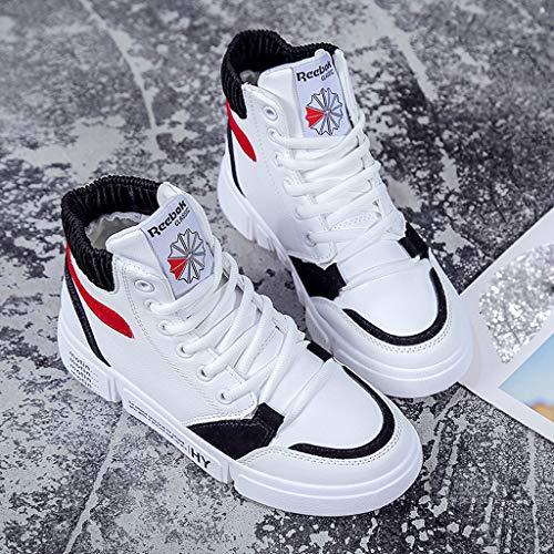 Baskets Course Lacets Avec À Pour Wozow Plates Blanc Loisirs Chaussures Tête Plateforme Femmes De qnT41H